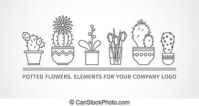 linear design, potted flowers. elements of a corporate logo....