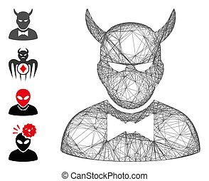 Vector net devil. Geometric hatched carcass flat network generated with devil icon, designed with crossing lines. Some bonus icons are added.