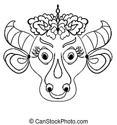 Linear drawing of a cow head with flowers in zentangle style for coloring book