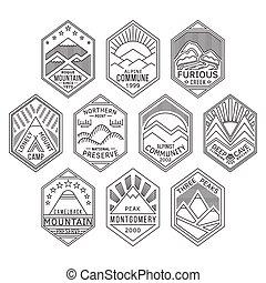 linear, emblemas, 1, montanha