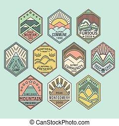 linear, emblemas, 1color, montanha