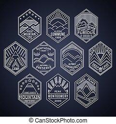 linear, emblemas, 1white, montanha