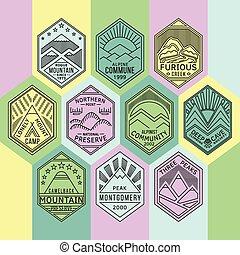 linear, emblemas, montanha, 1mono