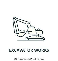 linear, escavador, conceito, símbolo, sinal, vetorial, ícone, linha, trabalhos, esboço