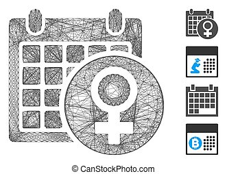 Vector wire frame female calendar. Geometric wire frame flat network generated with female calendar icon, designed from crossed lines. Some bonus icons are added.