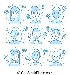 Linear Flat people faces vector illustration.