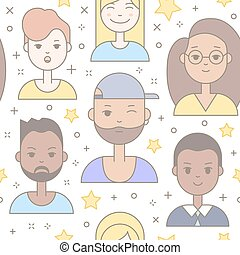 Linear Flat people faces vector seamless pattern.