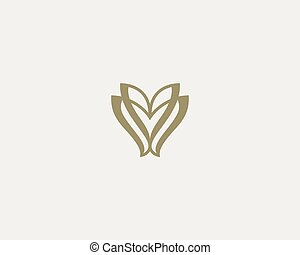 Linear flower logo icon vector design. Elegant butterfly premium symbol.