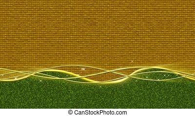 linear, funkeln, -, gold, grün, schleife