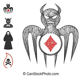 Vector wire frame gambling spectre devil. Geometric wire frame flat net generated with gambling spectre devil icon, designed with crossed lines. Some bonus icons are added.