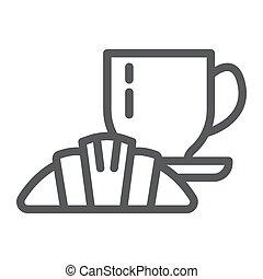 linear, gasthaus, zeichen, muster, lebensmittel, essen, hintergrund., vektor, grafik, ikone, weißes, café, linie