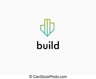 Linear green logo icon of building for construction company
