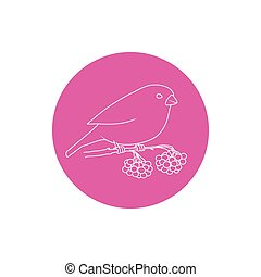 Linear Icon Christmas Bullfinch