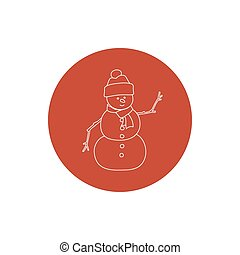 Linear Icon Christmas Snowman