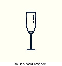 Linear icon of a glass of champagne.