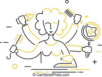 Linear icon of an abstract woman with lots of hands. The concept of homework. Vector illustration