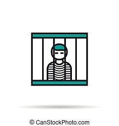 Linear Icon - prisoner in the cell - Vector isolated thin...