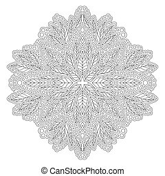 Linear illustration for coloring book with foliage