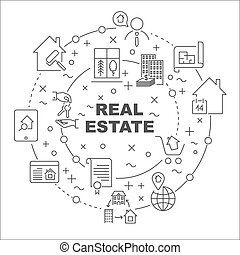 Linear illustration for presentations in the round. Real Estate theme. Editable Stroke
