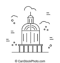 Linear illustration of a capitol. Vector line style icon
