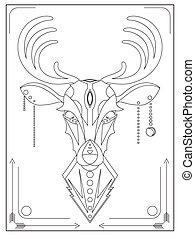 Linear illustration of a deer