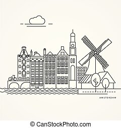 Linear illustration of Amsterdam, Netherlands. Flat one line...