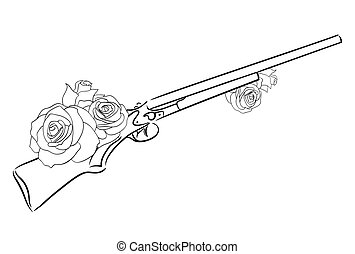 Linear illustration of an old rifle with roses. Vector element for your design.