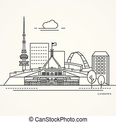 Linear illustration of Canberra, Australia. Flat one line style. Trendy vector illustration. Architecture line cityscape with famous landmarks, city sights, design icons. Editable strokes