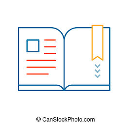 linear illustration of color book on white background.