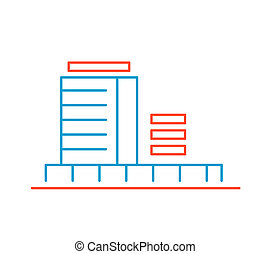 linear illustration of color building on white background.