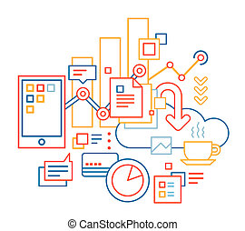 linear illustration of color business processes set on white background.