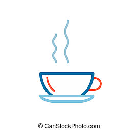 linear illustration of color coffee on white background.