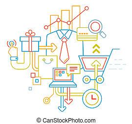 linear illustration of color customer service set on white background.