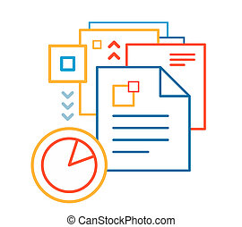 linear illustration of color documents on white background.
