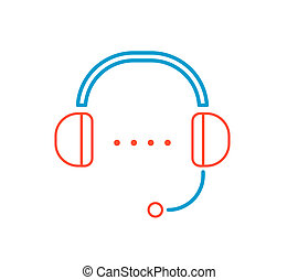 linear illustration of color headphone support on white background.
