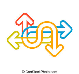 linear illustration of color set arrows on white background.