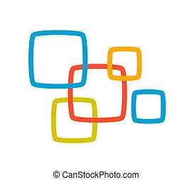 linear illustration of color set squares on white background.