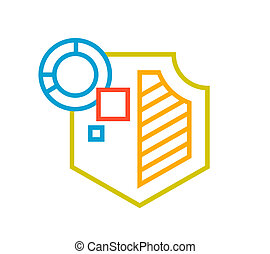 linear illustration of color shield on white background.