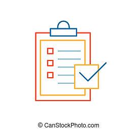 linear illustration of color task desk on white background.