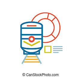 linear illustration of color train on white background.