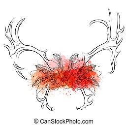 Linear illustration of deer horns with roses and feathers with watercolor spray.