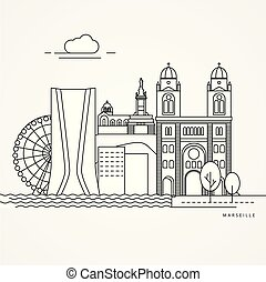 Linear illustration of Marseille, France.