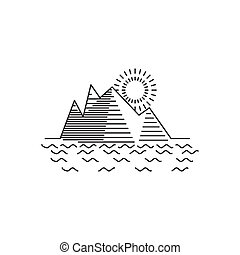 Linear illustration of mountain sunrise on white background