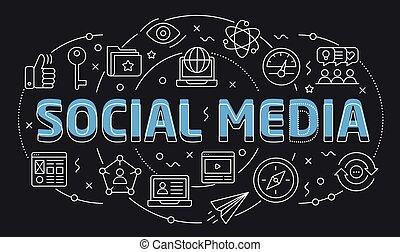 Linear illustration slide for the presentation social media