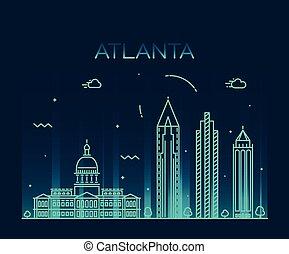 linear, ilustração, skyline, vetorial, trendy, atlanta
