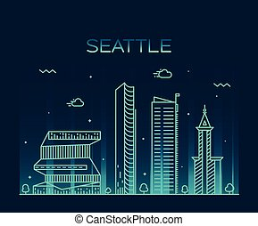 linear, ilustração, skyline, vetorial, trendy, seattle