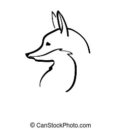 linear image fox - linear image of the fox on white...