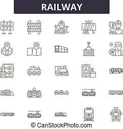 linear, jogo, ícones, ilustração, conceito, vetorial, estrada ferro, sinais, linha, esboço