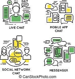linear, leute, online-kommunikation, begriff