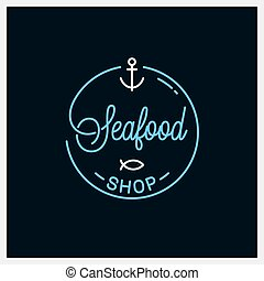 linear, logo., marisco, loja, loja peixes, redondo, logotipo